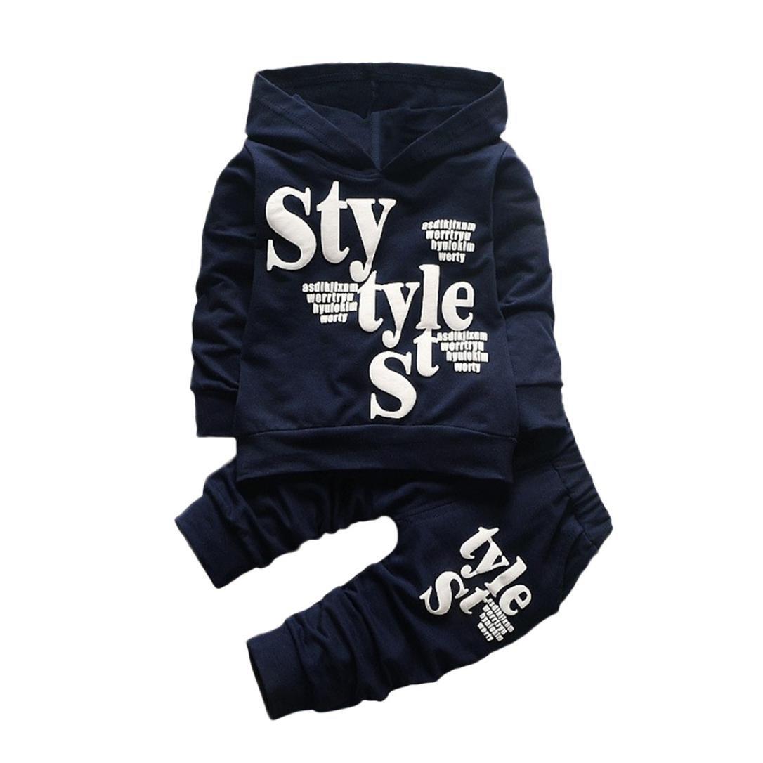 2 Stück Kinderkleidung Set Hirolan Baby Kapuzenpullover mantel Outfits Kleinkind Junge Stil Beschriftung Hoodie Tops Muster Hose Strampelanzug Baumwolle Langarmshirt Strampelhöschen