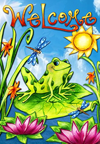 Toland Home Garden Spring Is In The Air 28 x 40 Inch Decorative Colorful Frog Welcome Flower Sun House Flag ()