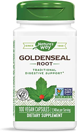 Nature s Way Premium Herbal Goldenseal Root, 1,140 mg per serving, 100 Capsules Packaging May Vary