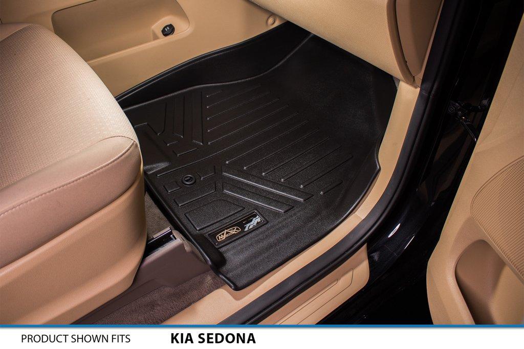 2015-2017 Black MAXFLOORMAT Floor Mats and MAXTRAY Cargo Liner Behind Third Row for Kia Sedona 8 Passenger Only