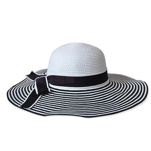 8d60002f5a8 Potato001 Fashion Striped Bowknot Summer Beach Sun Hat Women Straw Braid  Large Brimmed Cap (Black