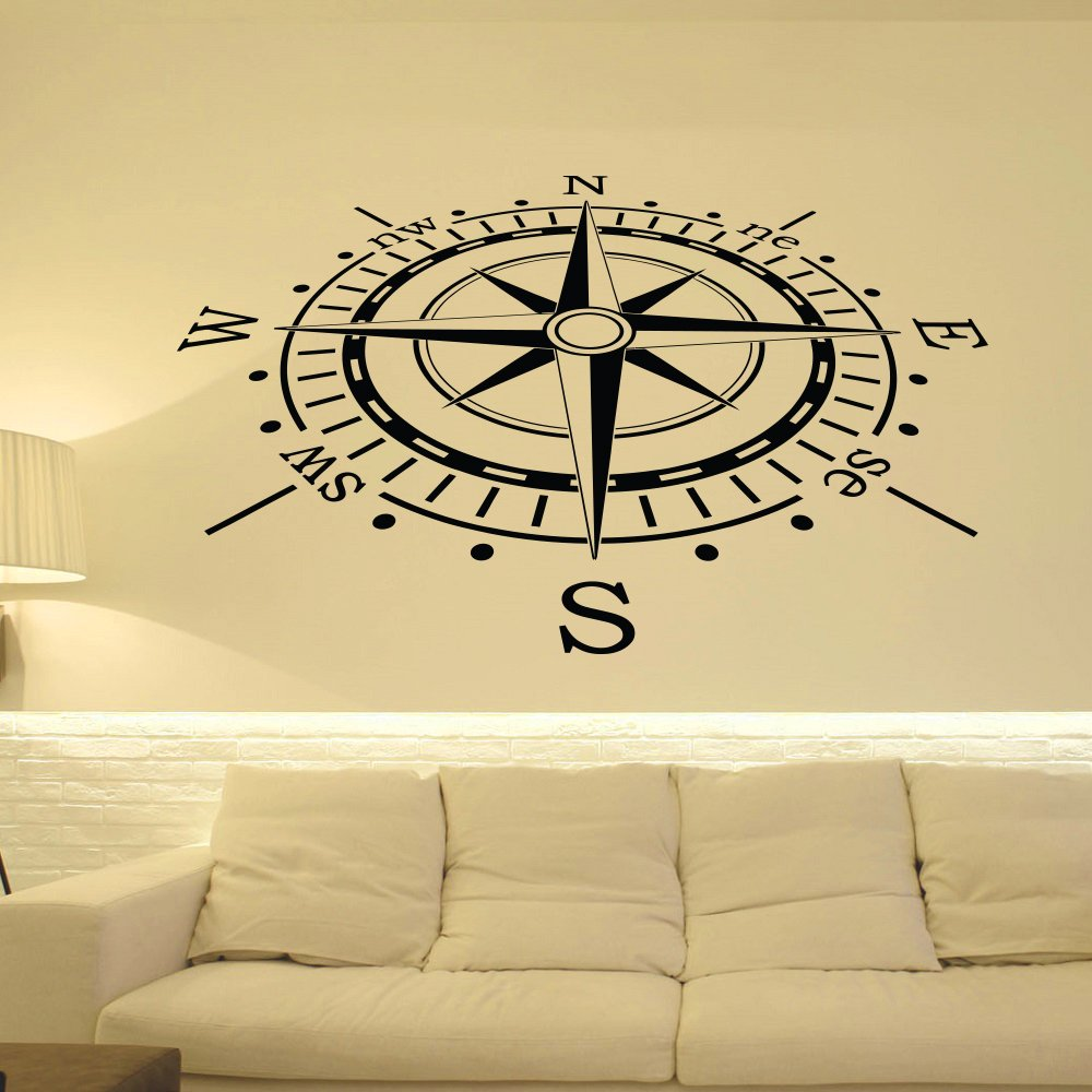 Wall Decal Nautical Compass Rose Wall Decor North South West East ...