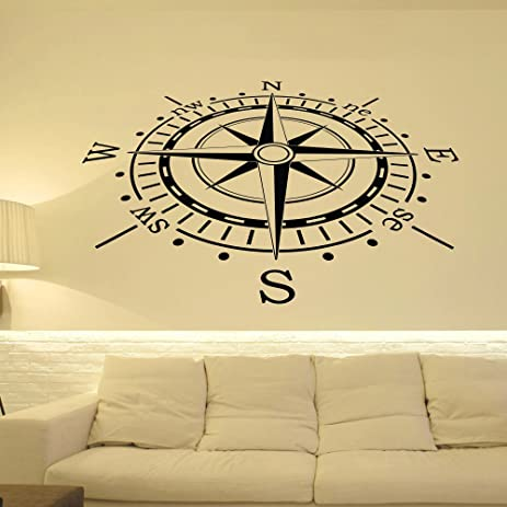 Wall Decal Nautical Compass Rose Wall Decor North South West East  Compass  Wall Art