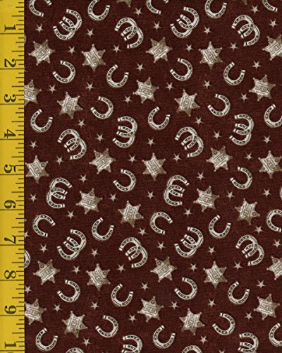 Cotton Quilt Fabric - Windham Fabrics Ranch Hands 42583-3 Horseshoes - Brown ()
