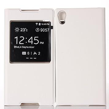 89651e22df Xperia Z5ケース 手帳型 PUレザー 窓 付き 薄型 持ちやすい フィット ケース エクスペリア Z5
