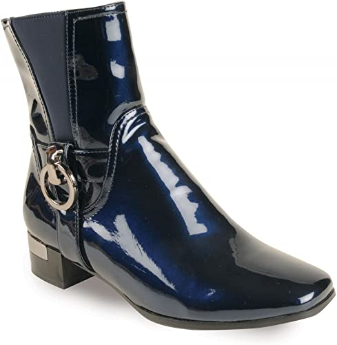 LUNAR GLC354BLK NAVY PATENT ANKLE BOOT