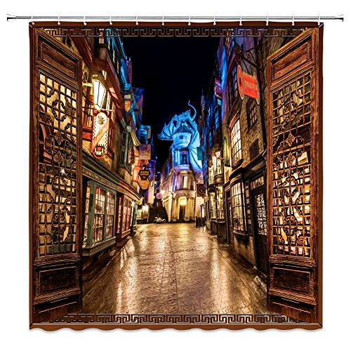 Street Decor Scene (Harry Potter Shower Curtain Bathroom Decor,Diagon Alley Castle Street Night Scene Retro Window View,Waterproof Polyester Fabric Home Bath Accessories Curtains Sets With Hooks 69 x 70 Inch,Black Brown)