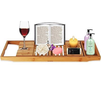 Amazon.com: SereneLife Luxury Bamboo Bathtub Caddy Tray - Adjustable ...