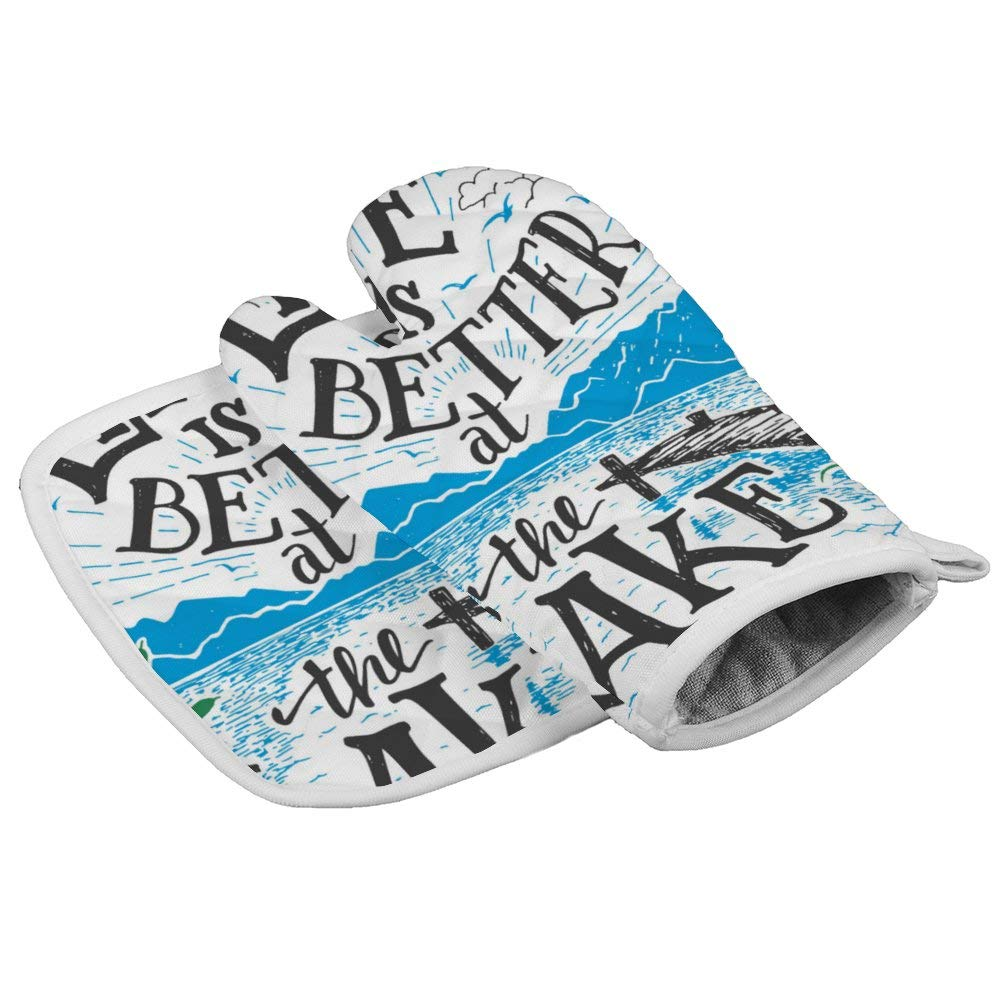 July-Seven Life is Better at The Lake Oven Mitts,Professional Heat Resistant Microwave BBQ Oven Insulation Thickening Cotton Gloves Baking Pot Mitts with Soft Inner Lining