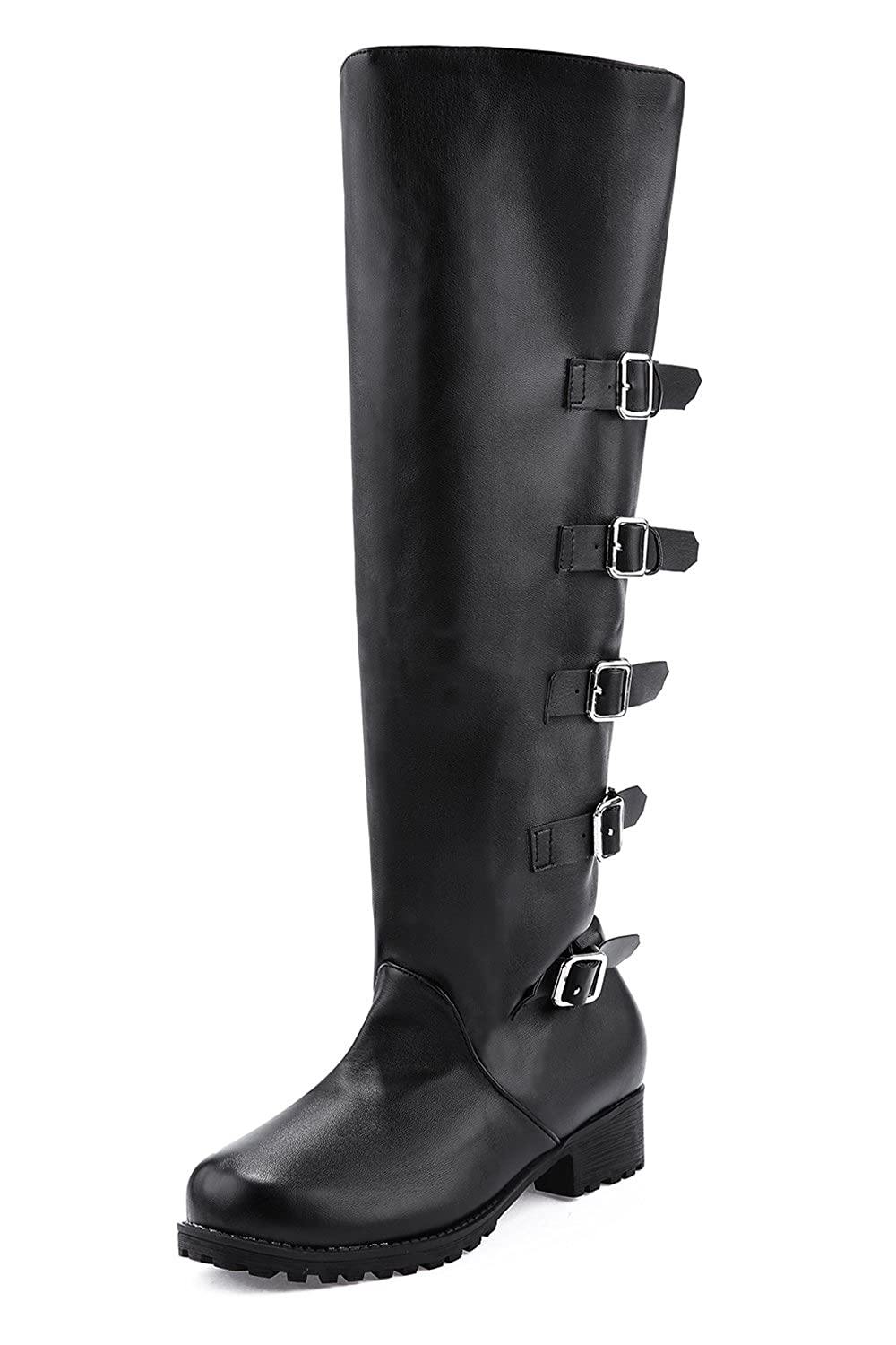 Women's Buckle Straps Black or Brown Faux Leather Riding Boots