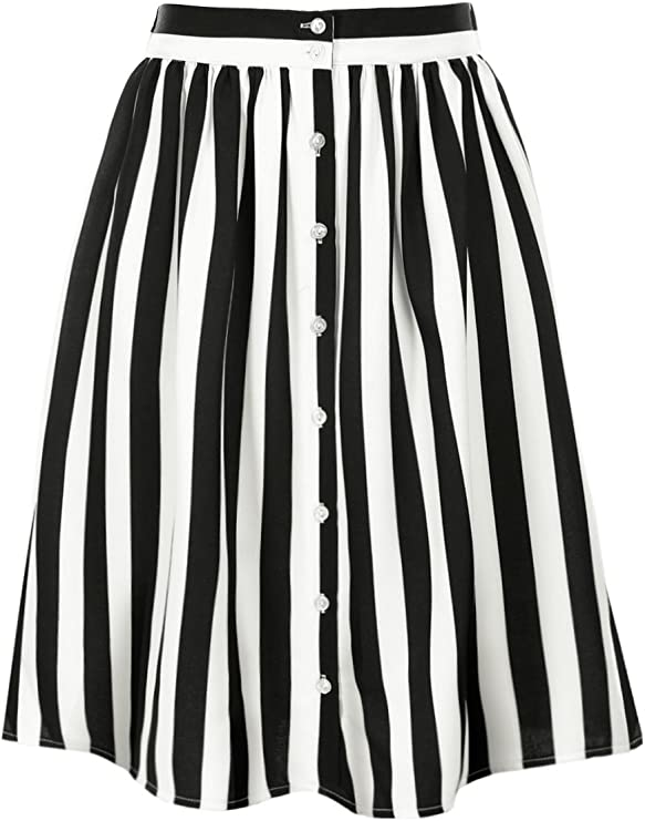 Vintage Skirts | Retro, Pencil, Swing, Boho Allegra K Womens Striped Button Front Elastic Back Waist A-Line Midi Skirt $26.99 AT vintagedancer.com