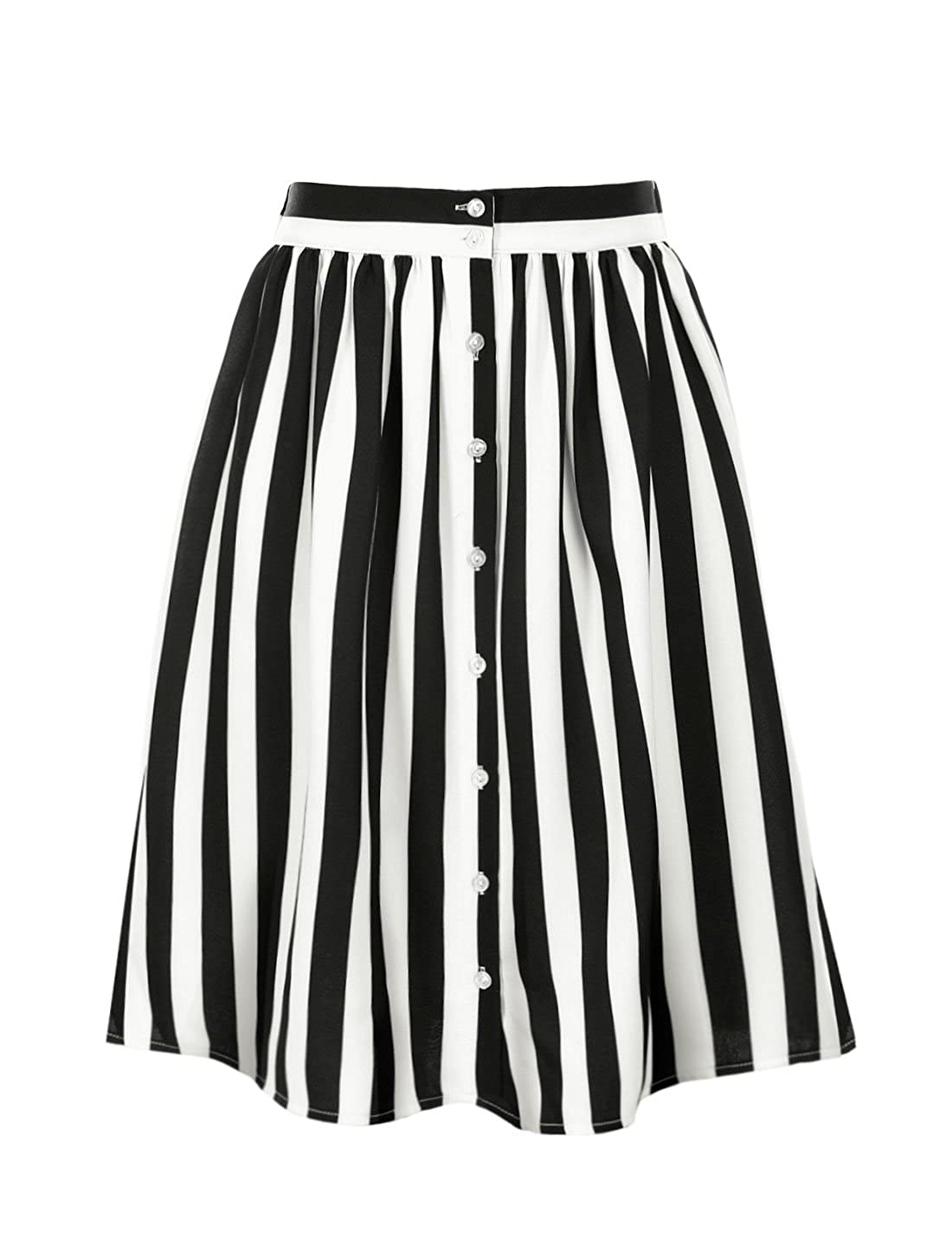 Saloon Girl Costume | Victorian Burlesque Dresses & History Allegra K Womens Striped Button Front Elastic Back Waist A Line Midi Skirt $24.99 AT vintagedancer.com
