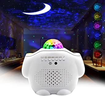 Star Night Light Projector Bedroom,3 in 1 Galaxy Projector Light LED Nebula Cloud Light with Moon Star & Voice Control As a Game Room Party Home Theatre Night Light Ambiance