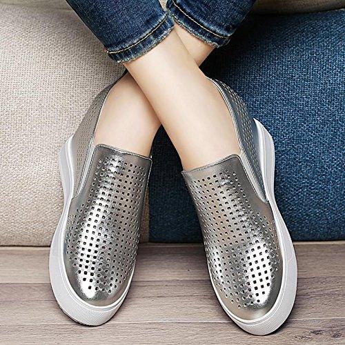 Casuales Mujer Spring De Shoes Dama Partido Flat El Spring En Todo En De Aumento Zapatos El Zapatos Tide silvery Zapatos Documental KHSKX BxZqwnXvOW