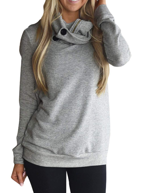 Happy Sailed Women Long Sleeve Button Cowl Neck Contrast Tunic Sweatshirts Active Tops Medium Grey