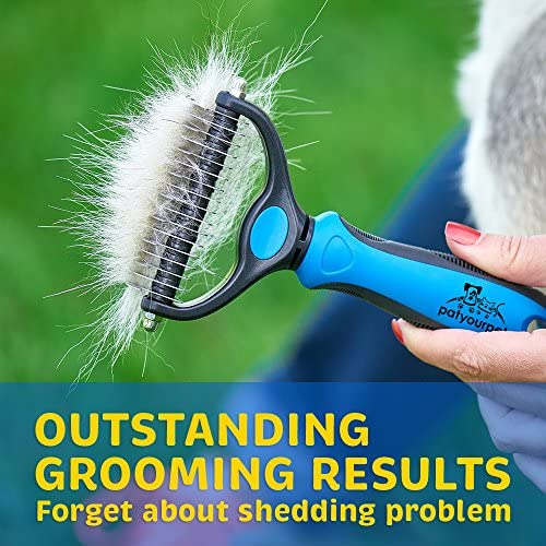 Pet Grooming Tool  2 Sided Undercoat Rake for Cats  Dogs  Safe Dematting Comb for Easy Mats  Tangles