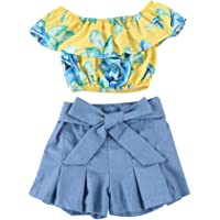 MAMIKIDS Kids Baby Girls Outfits Floral Ruffle Off Shoulder Crop Tops + Bowknot Denim Shorts Skirt Set Toddler Summer Clothes