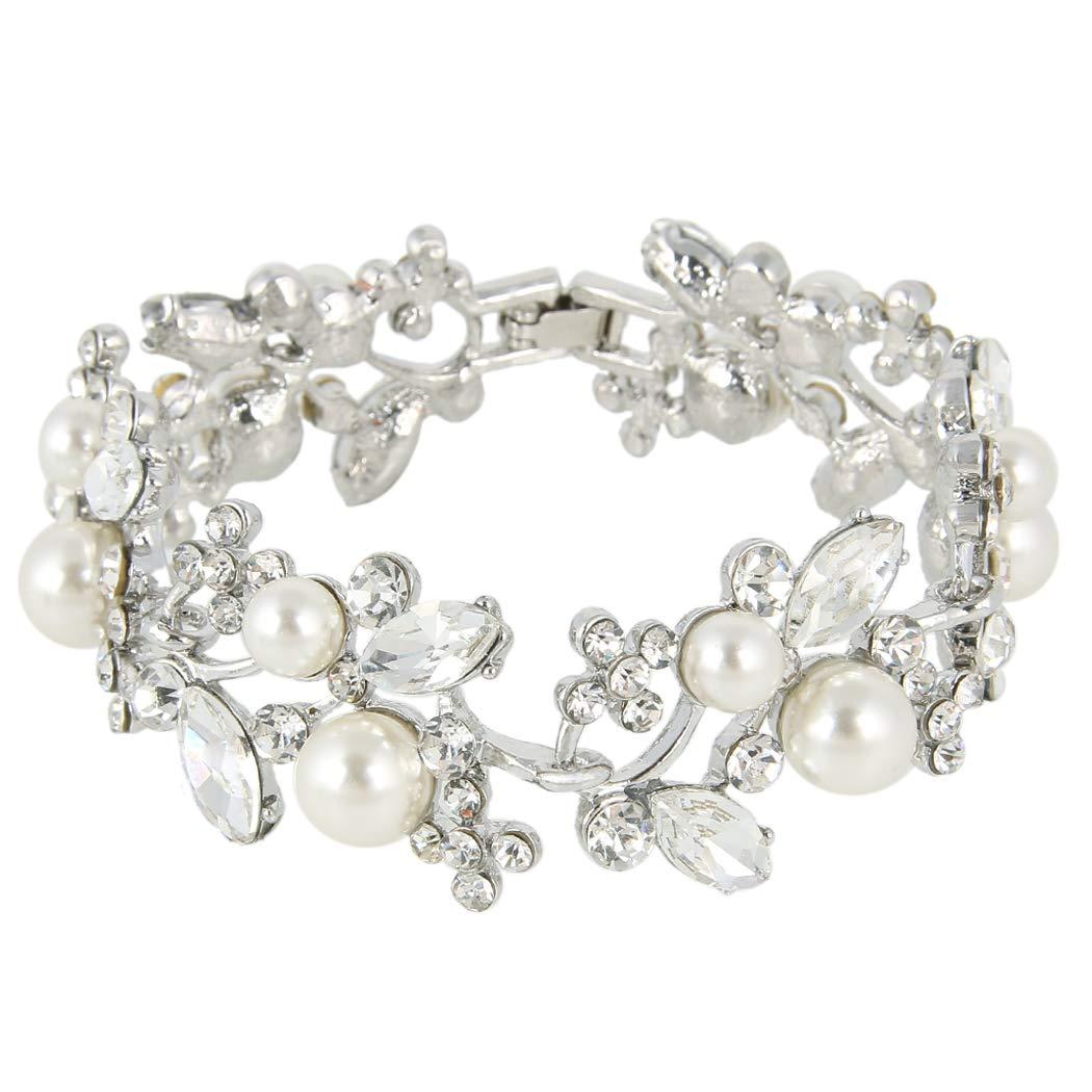 EVER FAITH Austrian Crystal White Simulated Pearl Bridal Prom Floral Leaf Tennis Bracelet by EVER FAITH