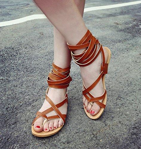 YOUJIA Mujeres Elegante Gladiator Sandalias Plano Botas de Rodilla Sandalia del Verano #2 Marrón