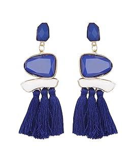 Topker 1 Paire Charme Femmes Tassel Dangle Boucles D'Oreilles Fille de Mariage Multicolore Mode Bohême Goutte D'Oreille Anneaux Lady Bijoux