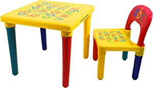 Odsemeky Kids Alphabet Table and Chair Set, Plastic Activity Furniture for Toddler, Study Play Arts Dining Patio Desk for Baby Girls/Boys (Age 3 and Up)