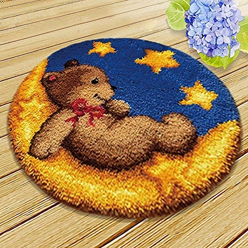 MLADEN DIY Crochet Yarn Kits,Needlework Latch Hook Kit Unfinished Crocheting Rug Yarn Cushion Embroidery Carpet Set (Moon,17.5