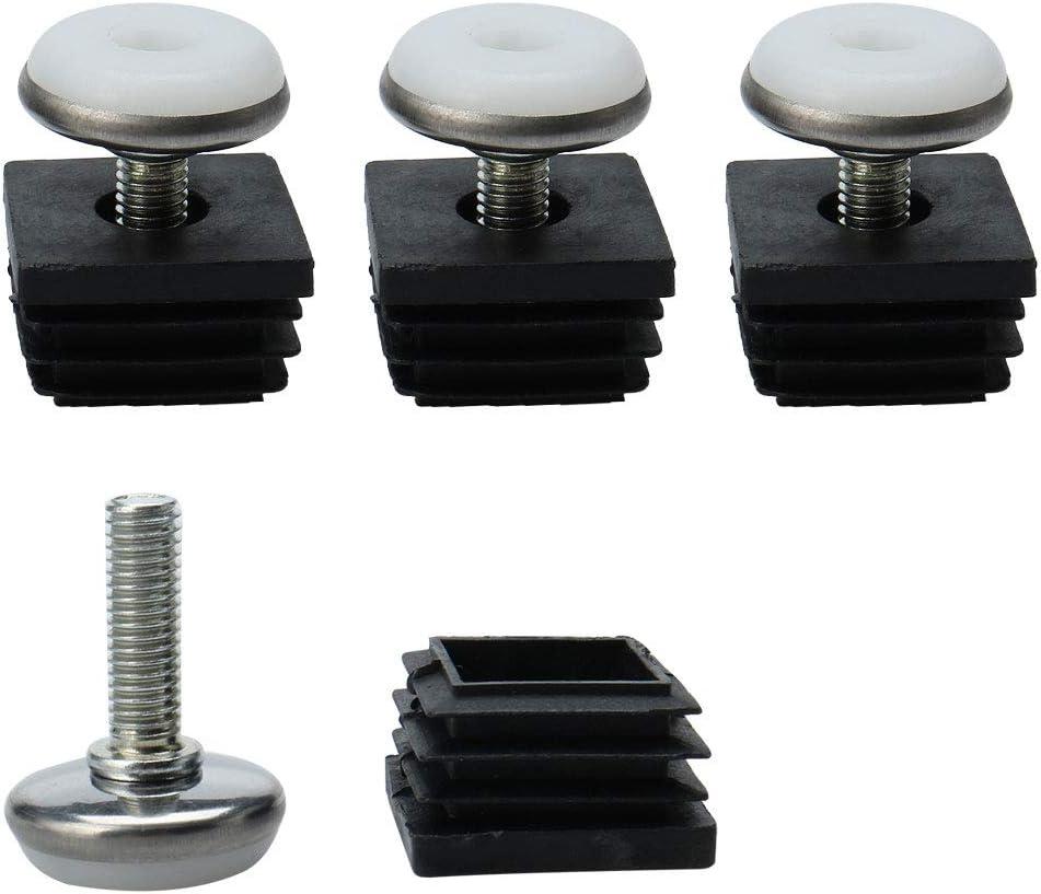 uxcell Leveling Feet 25 x 25mm Square Tube Inserts Kit Furniture Glide Adjustable Leveler for Table Desk Leg 4 Pcs