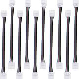 TOOHUI 10Pcs 4 Pin Cable de Conector para 10 mm de Ancho 5050 RGB LED Tira de luz, Cable de Extensión, Adaptador de Esquina de Conector para Conectar 2 Tiras de LED