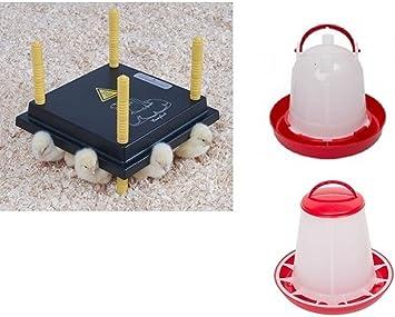 Futtertrog Tränke SET:1  Wärmeplatte 30 x 30 cm für 20-25 Küken Heizplatte
