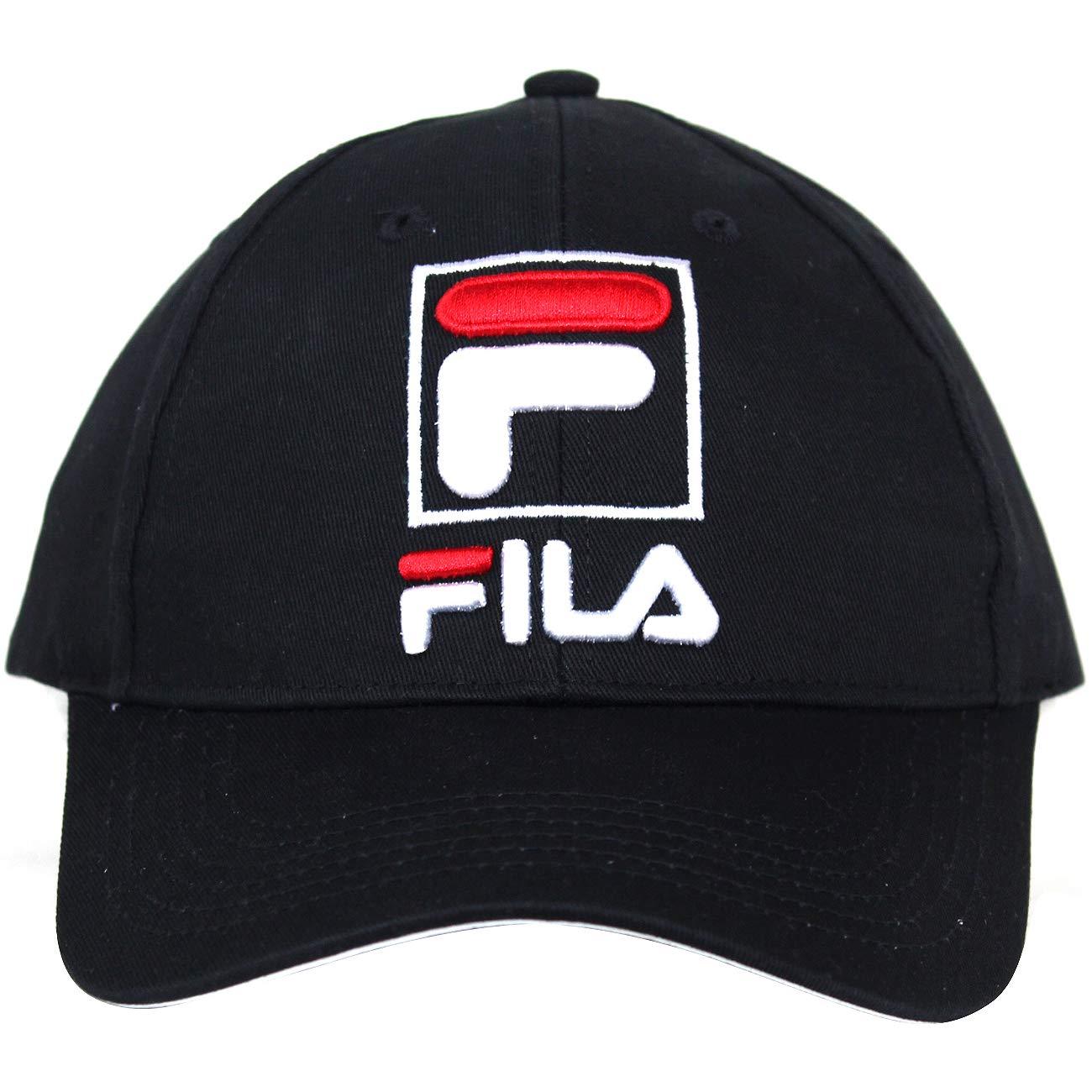 c8b3b933f73 Amazon.com  Fila Unisex Heritage Adjustable Baseball Cap hat with  Embroidered Logo (Black)  Clothing