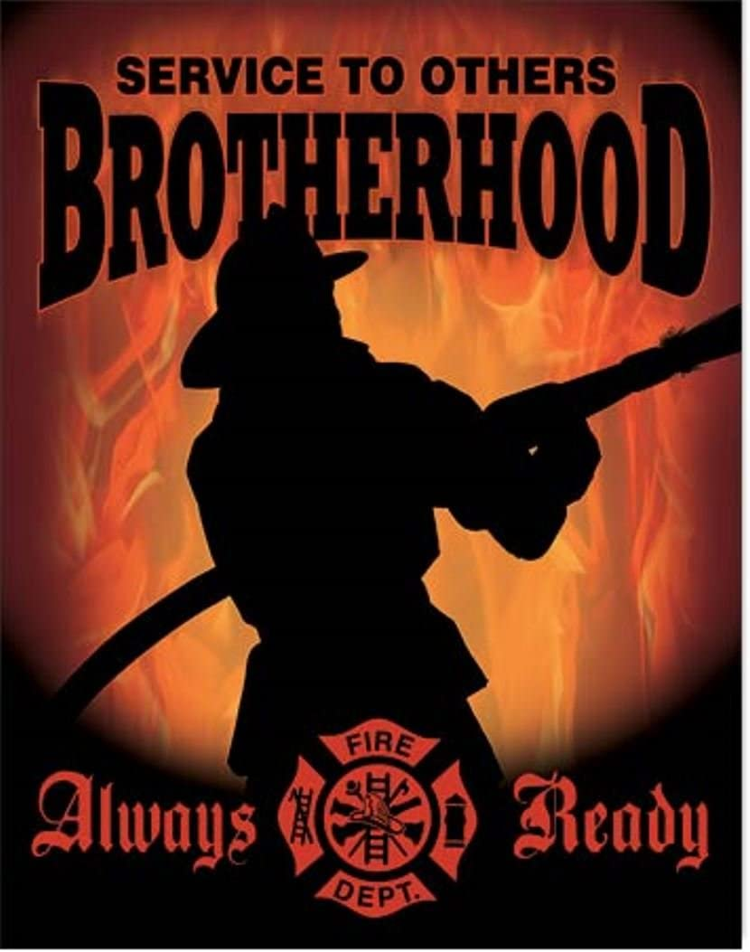Desperate Service to Others Brotherhood Alway Ready Fire Fighter Maltese Cross Tin Collectible Sign Gift