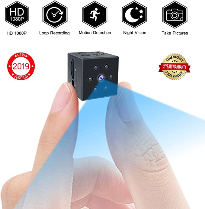 Small Spy Camera, PinLife Mini Spy Camera HD 1080P Portable Small Camera HD Nanny Cam with Night Vision and Motion Detection Cop Cam Mini Camera Home ...