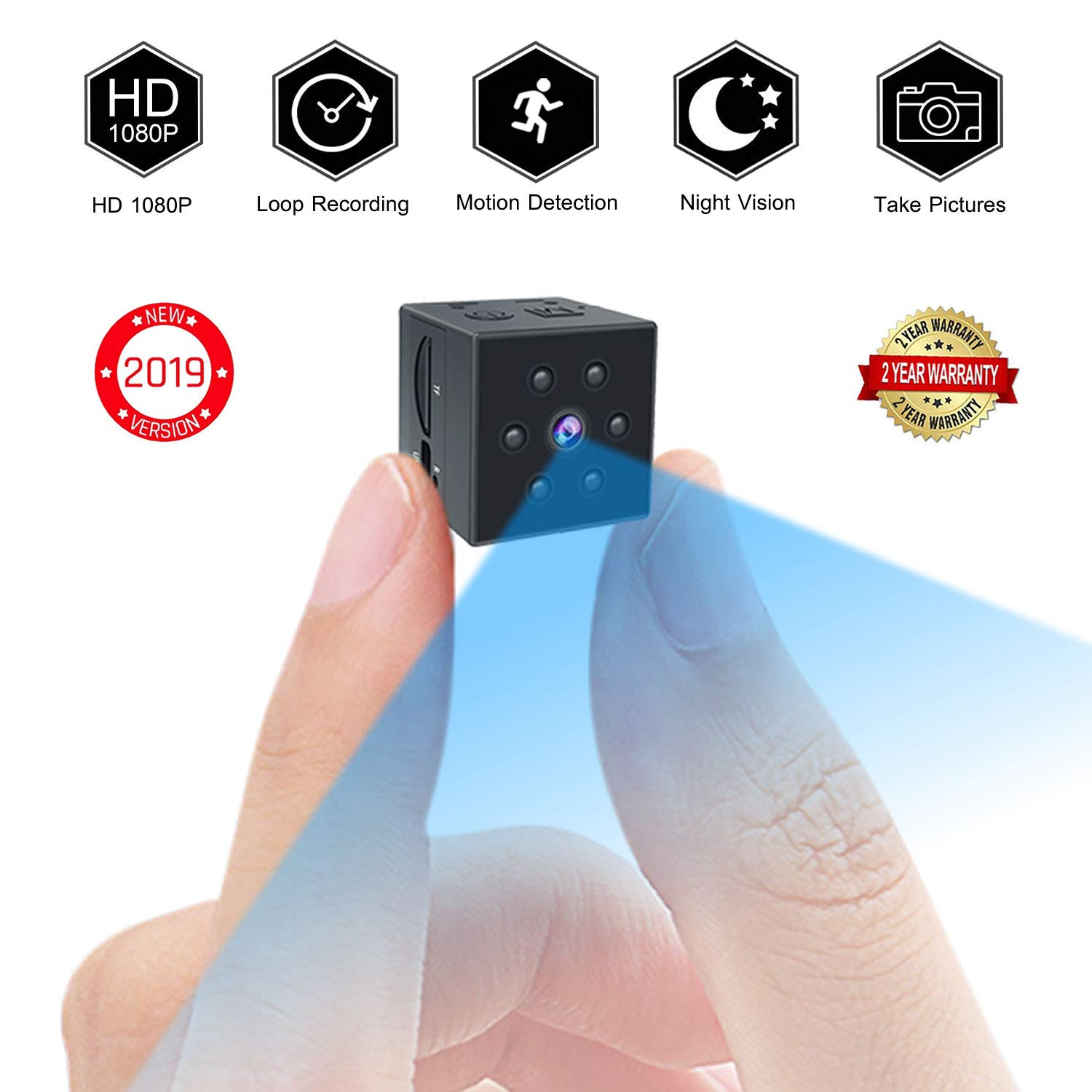 Small Spy Camera, PinLife Mini Spy Camera HD 1080P Portable Small Camera HD Nanny Cam with Night Vision and Motion Detection Cop Cam Mini Camera Home Surveillance Hidden Cameras
