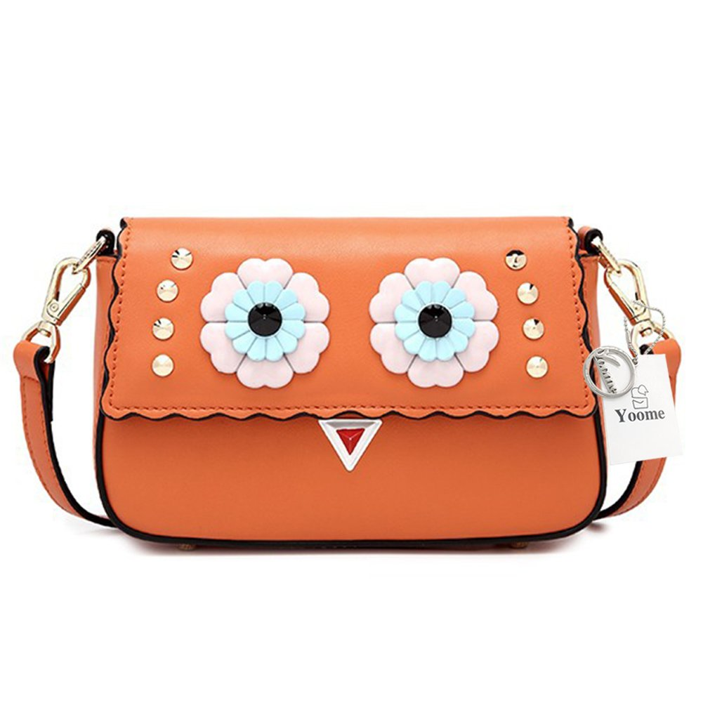Yoome Cute Cartoon Rivets Design Crossbody Bag Small Leather Flap Bag Single Shoulder Bag for Women Girls - Brown