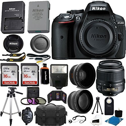 Nikon D90 Kit - Nikon D5300 24.2 MP CMOS Digital SLR Camera (Black) with Nikon 18-55mm f/3.5-5.6G VR II AF-S DX NIKKOR Zoom Lens + 32GB Accessory Bundle International Version (No Warranty)