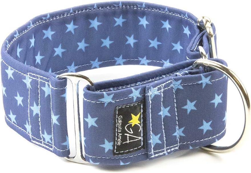 Galguita Amelie, 5cm Ancho Talla L (40cm - 49cm), Collar para Perro antiescape. Estrellas Azules.