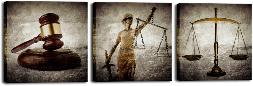Biuteawal - Legal Canvas Wall Art Law Firm Scales Justice Hammer Picture Prints on Canvas Justitia Lady Poster Painting Contemporary Artwork for Court Home Office Study Room Decoration Ready to Hang