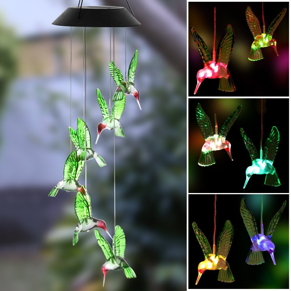 Swelt Solar Wind Chime, LED Solar Wind Chime Outdoor Waterproof Color-Changing Six Hummingbird Wind Chimes For Home/Party/Garden/Night Garden Decoration/Festival Decor/Valentines Gift