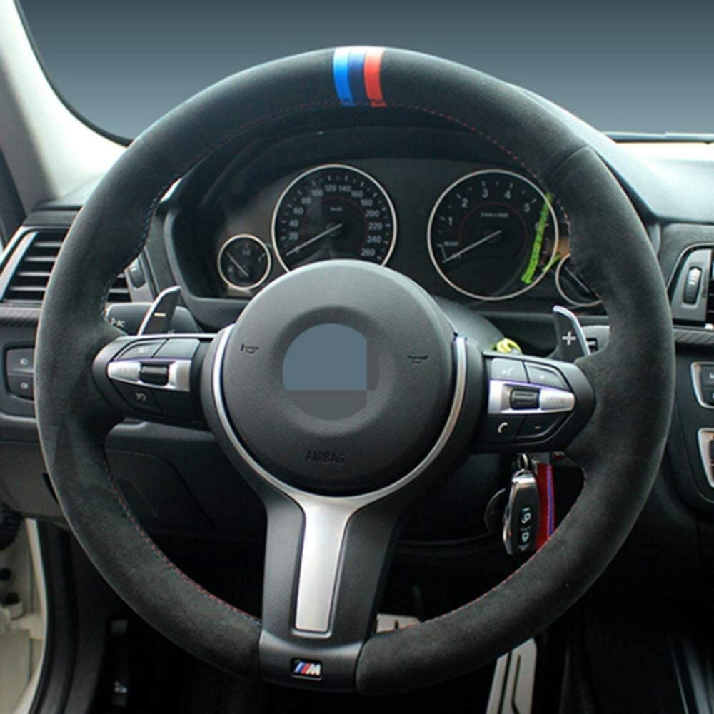 Sewing Suede Steering Wheel Cover For BMW F87 M2 F80 M4 M5 F30 F12 X5 3 M Sport