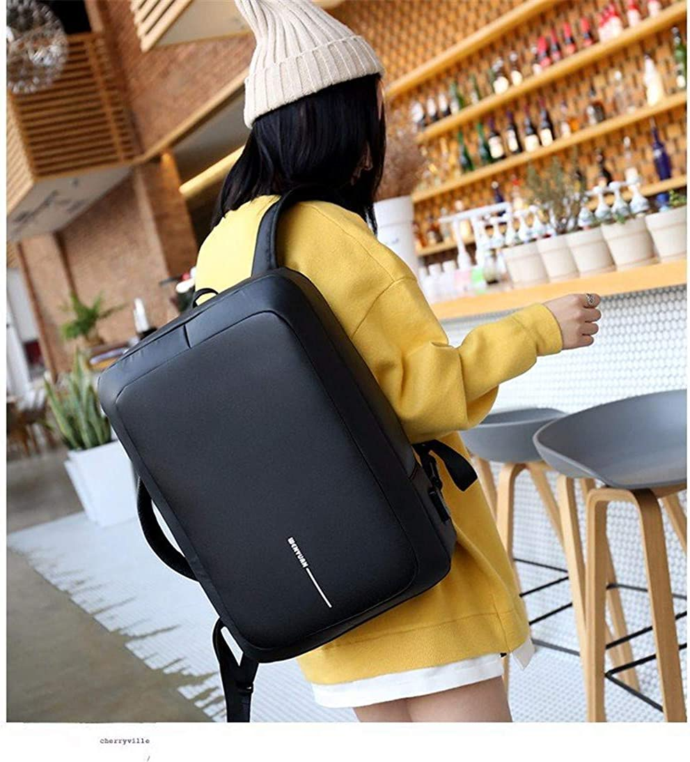 Waterproof Pu Leather Backpacks For Men Travel High School Students Shrink Usb Charging Backpack