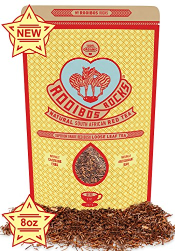 ROOIBOS TEA ORGANIC LOOSE LEAF - Caffeine Free, Herbal, South African Red Bush 100% Natural, Calorie Free, Gluten Free & Non-GMO Tea by Rooibos Rocks
