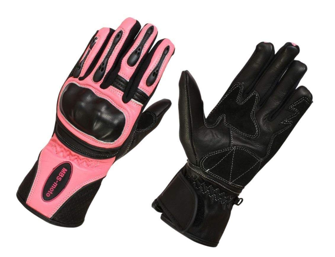 MBSmoto GLL13 Motorcycle Bike Scooter Cruiser Touring Protective Ladies Pink Gloves Small