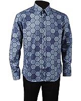 Allten Men's Blue Cotton Casual Halloween Shirt