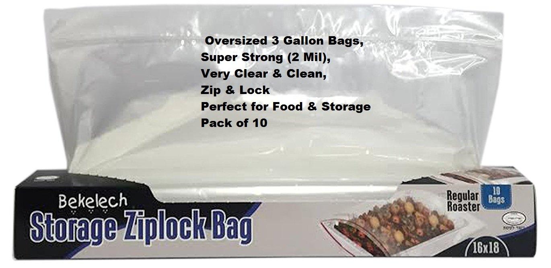 Regular Roaster Storage Zip&lock Bag 10 count 16'' x 18'', 4 Gallon Large & Strong Clear Ziplock Bags, Pack of 10,
