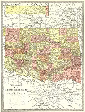 Amazon.com: Oklahoma & Indian Territory State map. Counties ... on state map maps, state map washington, state map texas, state map lakes, state map united states, state map capitals, state map california, united states counties, state map zip codes, state map politics, state map england, state map regions, state map weather, state map mountains,
