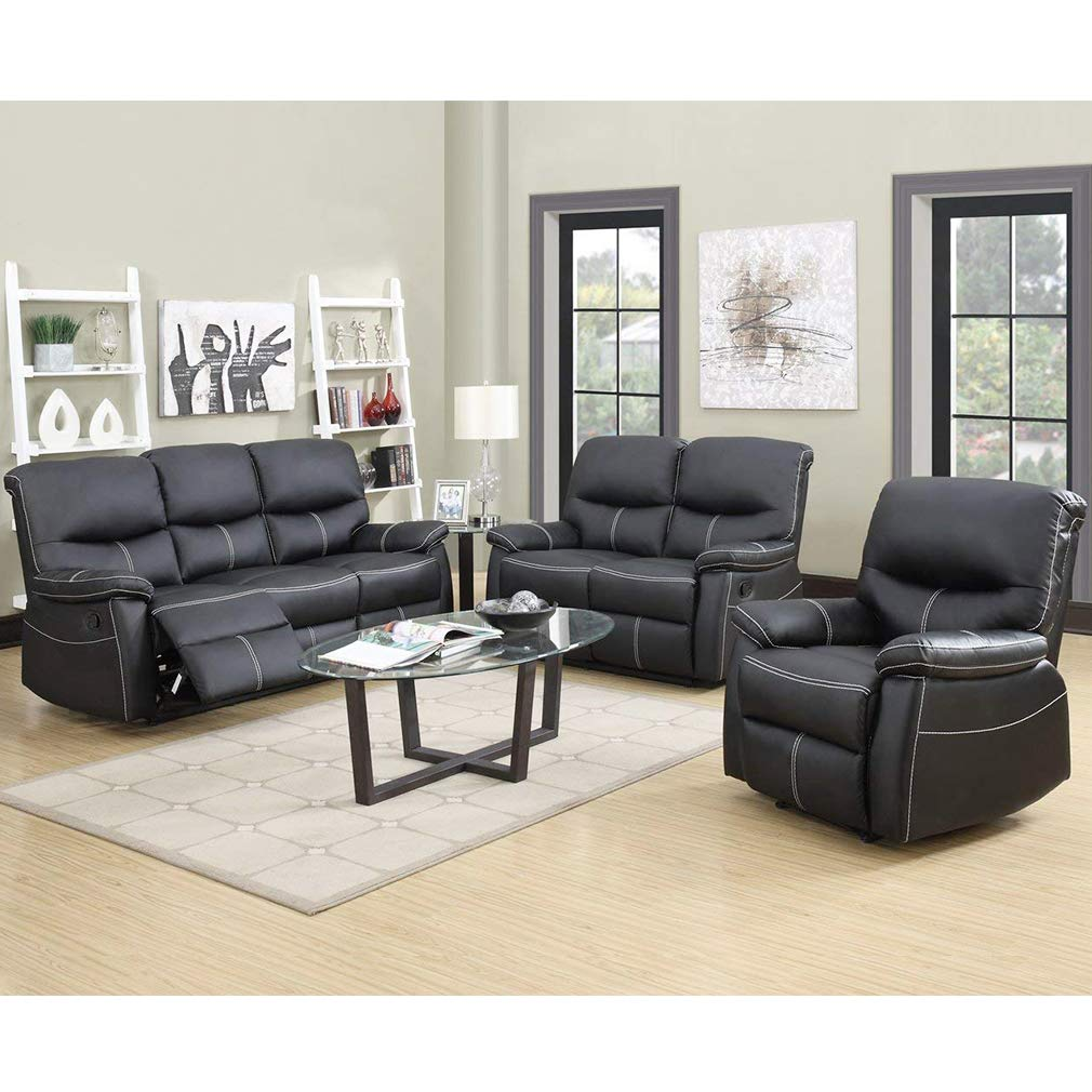 Recliner Sofa Leather Set 3 PCS Motion Sofa Loveseat Recliner Leather Sofa Recliner Couch Manual Reclining Chair 3 Seater for Living Room by FDW