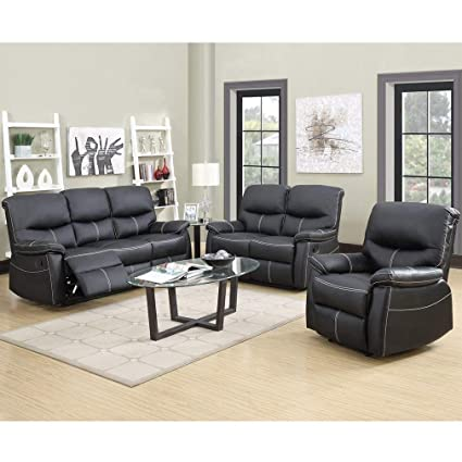 Amazon.com: BestMassage Recliner Sofa Leather Set 3 PCS Motion Sofa ...