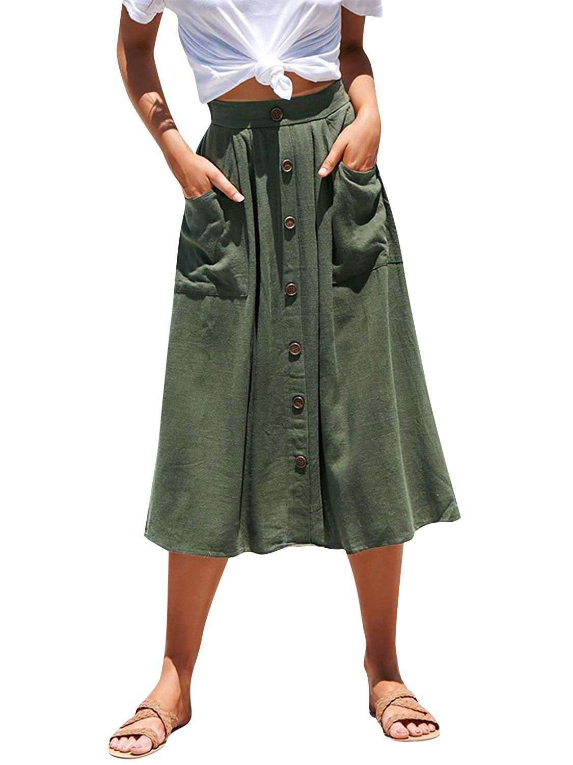e7c8a86b21 Miessial Women's Cotton Linen Solid Casual A-line Midi Skirts Button Down  Long Skirts with Pocket at Amazon Women's Clothing store: