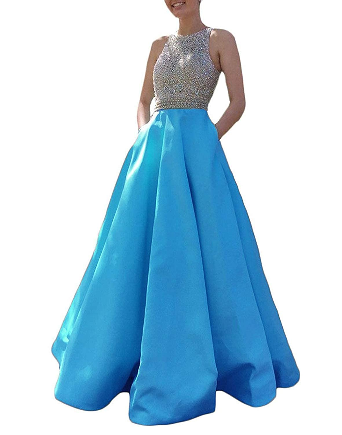 bluee Promworld Women's Crystal Beaded Prom Dress Long Satin A Line Open Back Evening Party Dress with Pocket