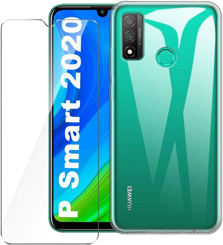 Boleyi For Huawei P Smart S Case with Screen Protector,[2 in 1] TPU Silicone Case + [1 Pack] 9H Tempered Glass Screen Protector For Huawei P Smart S -Transparent: Amazon.es: Electrónica
